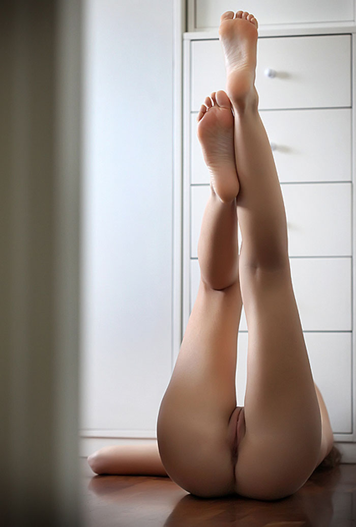 Legs up and together naked